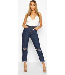 distressed boyfriend jeans met middelhoge taille, donkerblauw