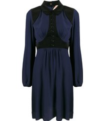 nº21 corduroy panel shirt dress - blue