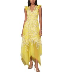 bcbgmaxazria embroidered ruffle dress
