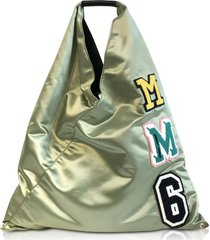 mm6 maison martin margiela designer handbags, sage green nylon japanese tote bag