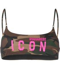 dsquared2 camouflage print bikini top - brown