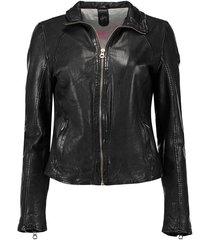leren biker jas zwart