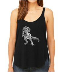 la pop art women's premium word art flowy tank top- dino pics