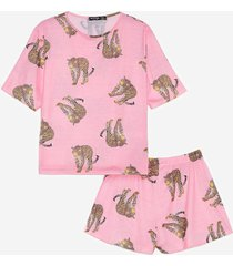 womens the purr-fect night cheetah pajama shorts set - pink