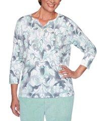 alfred dunner lake geneva printed cotton sweater