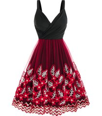 sequin leaves embroidered mesh insert party dress