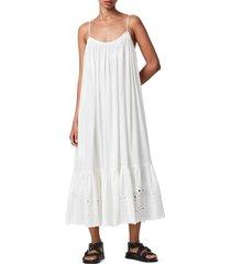 women's allsaints paola cotton eyelet trim midi dress