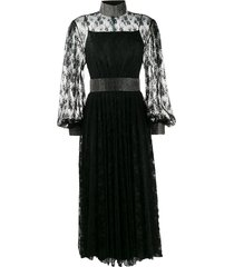 christopher kane crystal lace pleated dress - black
