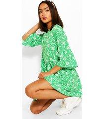 floral print frill sleeve smock dress, green