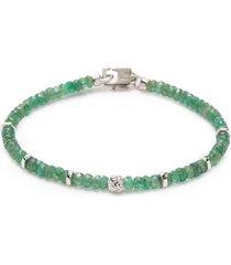'nodo precious' emerald bead rhodium silver bracelet