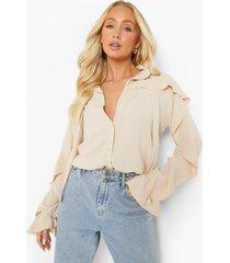 blouse met textuur en ruches, sand