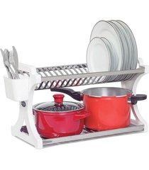 escorredor de pratos domum em inox capacidade para 20 pratos branco