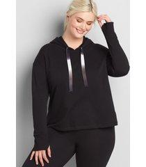 lane bryant women's livi hooded cropped sweatshirt with ombre drawstring 38/40 black