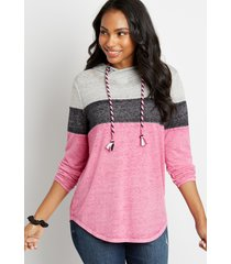 maurices womens colorblock asymmetrical pullover hoodie pink