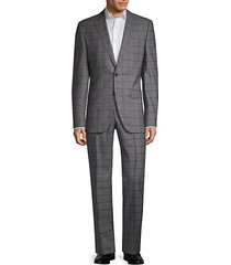 guabello regular-fit windowpane wool suit