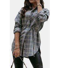 camicetta asimmetrica annodata con collo a risvolto a maniche lunghe scozzese per donna