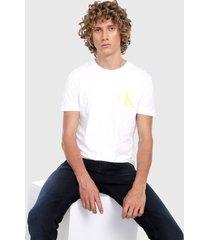 camiseta blanco-amarillo-negro calvin klein