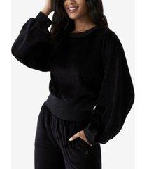 women's velour crewneck pullover sweatshirt