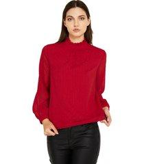 blusa brillos cuello alto rojo nicopoly