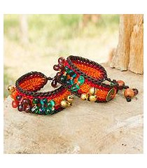 beaded wristband bracelets, 'bold orange fortunes' (pair) (thailand)