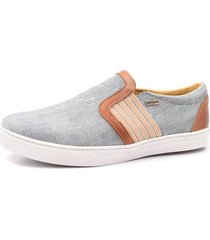 sapatênis slip on shoes grand jeans destroyer com couro whisky