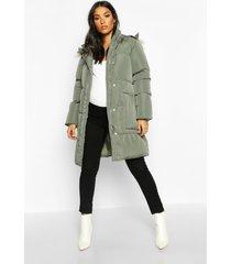 maternity faux fur trim padded jacket, grey