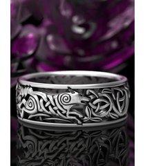 anillo de animal con letra de plata vintage para hombre