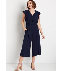 maurices womens navy lace trim flutter sleeve pocket jumpsuit blue