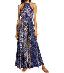 women's free people shangri-la scarf print halter neck jumpsuit, size 6 - blue