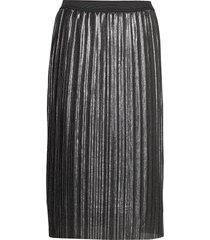 v-lurex pleated skirt knälång kjol grå gap
