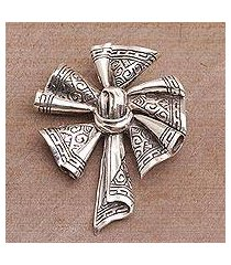 sterling silver brooch, 'songket windmill' (indonesia)