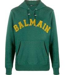 balmain logo-embroidered hoodie - green