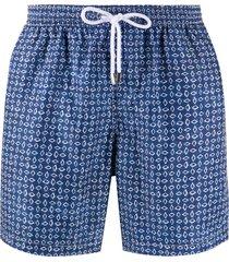 barba geometric-print swim shorts - blue
