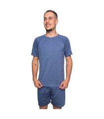 pijama serra e mar modas masculino listrado manga curta azul
