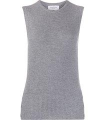thom browne piqué stitch crew-neck shell top - grey