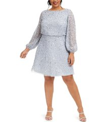 adrianna papell plus size sequin a-line dress