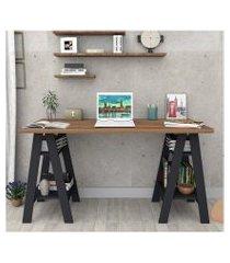 mesa escrivaninha castanho preto lilies móveis
