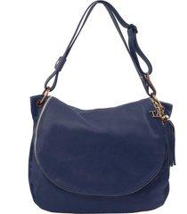 tuscany leather tl141110 tl bag - borsa morbida a tracolla con nappa blu scuro