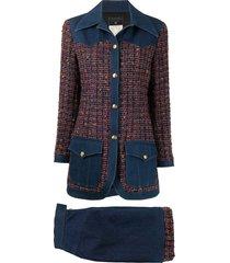 chanel pre-owned tweed denim skirt suit - blue