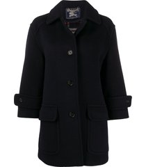 burberry pre-owned 1990s cutaway collar coat - blue