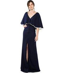 vestido longo em crepe decote v e mangas morcego feminino