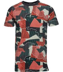 s/s tee with allover prints on melange base t-shirts short-sleeved multi/mönstrad scotch & soda