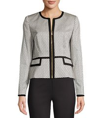 dotted piped zip-front jacket