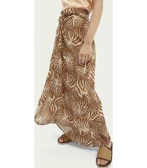 scotch & soda printed knot detailed organic cotton skirt