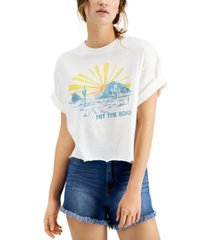 junk food hit the road distressed graphic t-shirt