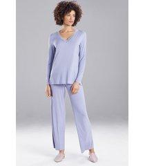 natori feathers essentials pajamas, women's, grey, size m natori