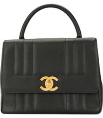 chanel pre-owned caviar skin mademoiselle stitch handbag - black