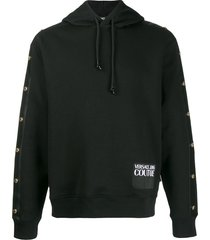 versace jeans couture stud detail logo patch hoodie - black