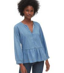 blusa cuello zen azul gap