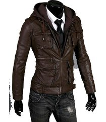 mens detachable fabric hooded leather jacket, men leather jacket, hooded jacket